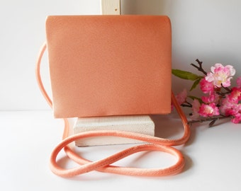 Coral Evening Bag, Coral Handbag, Vintage Coral Purse, Cross Body Bag, Wedding Bridal,Coral Clutch Bag EB-0034