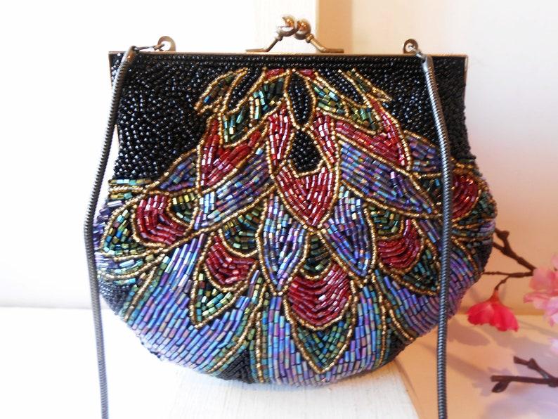 08c436ef1 Vintage Beaded Evening Bag, Multi-Color Beaded Clutch Handbag EB-0673