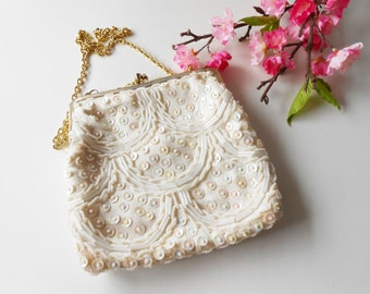 White Beaded Evening Bag, Vintage White Bag,White Beaded Handbag, Wedding Purse, Vintage Beaded Purse, Hand Beaded Hong Kong  EB-0211