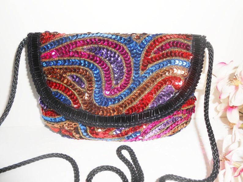 4cb991b9d Vintage Beaded Evening Bag, Multi-Color Sequin Clutch Handbag EB-0070