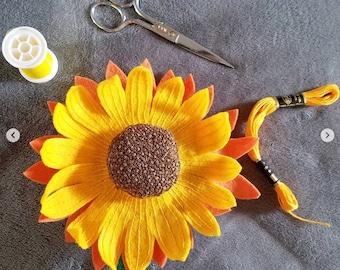 Yellow and Orange Sunflower Pincushion