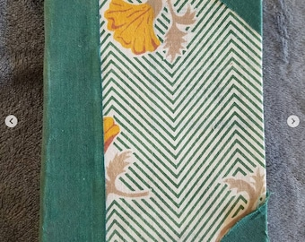 Green Striped with Yellow Flowers Hand Bound Notebook