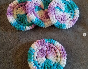 Purple, Blue, Green and White Scrubby Pads
