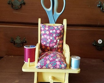 Yellow Rocking Chair Pincushion with Drawer