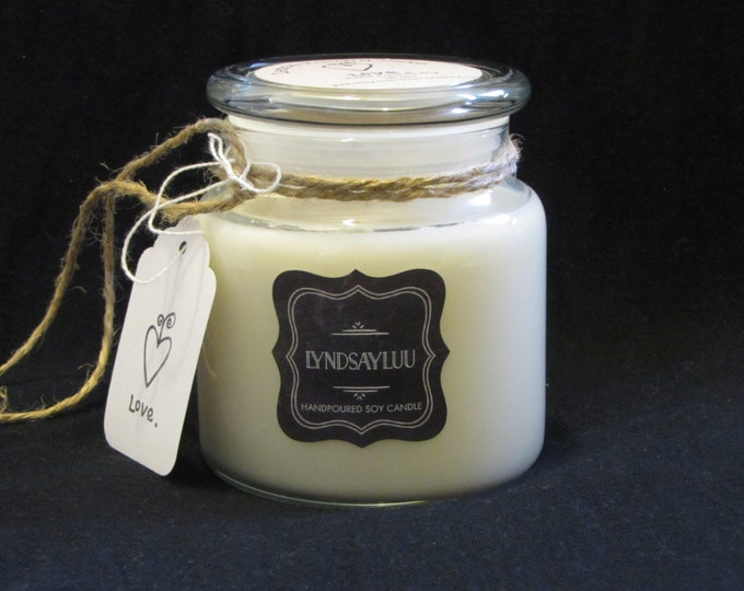 Handmade, Hand Poured, all Natural, Unique, 100% Soy Candle in a 16 oz. Glass Apothecary Jar with Cotton Wick
