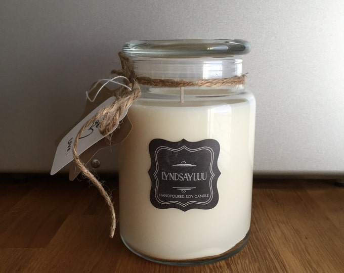 Handmade, Hand Poured, all Natural, Unique, 100% Soy Candle in a 26 oz. Glass Apothecary Jar with a Cotton Wick