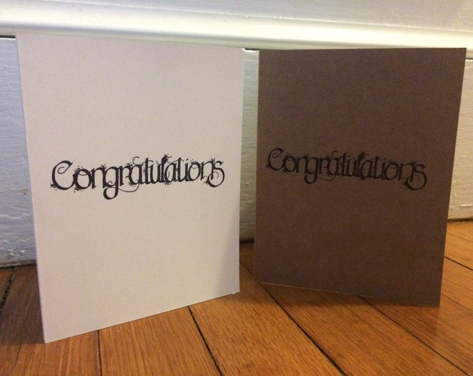 Handmade, Unique, Hand Stamped, Congratulations, Greeting Card