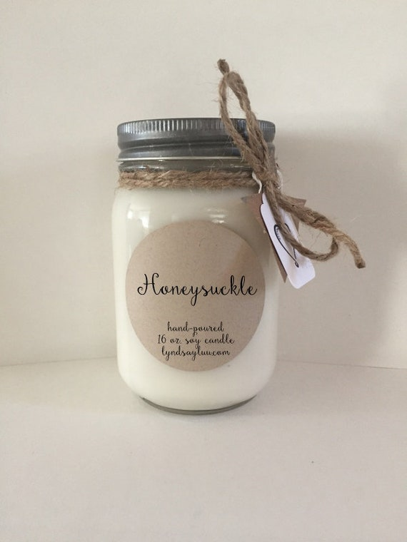 Handmade, Hand Poured, all Natural, Honeysuckle, 100% Soy Candle in 16 oz. Glass Mason Jar with Cotton Wick
