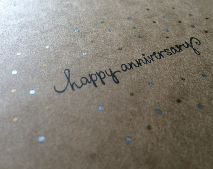 """Handmade, Unique, Hand Stamped, """"happy anniversary"""", Greeting Card"""
