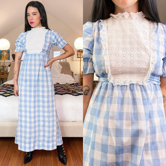 70's Gingham Gunne Sax Inspired Plaid Lace Prairie