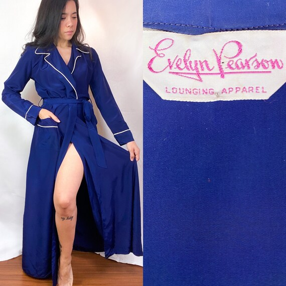 1950's Emily Pearson Navy Pinup Night Gown Robe