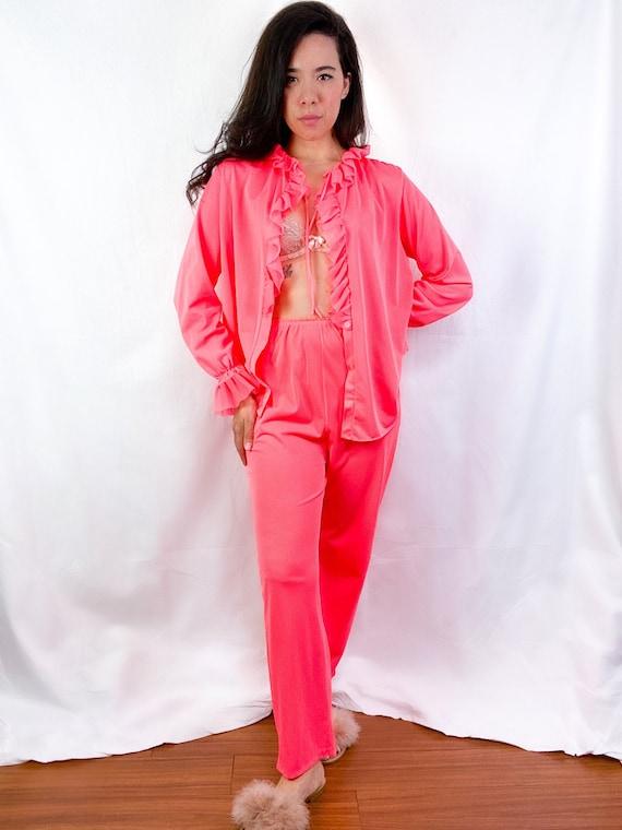 1960's Sears Neon Pink Nylon Ruffle Pajama Set
