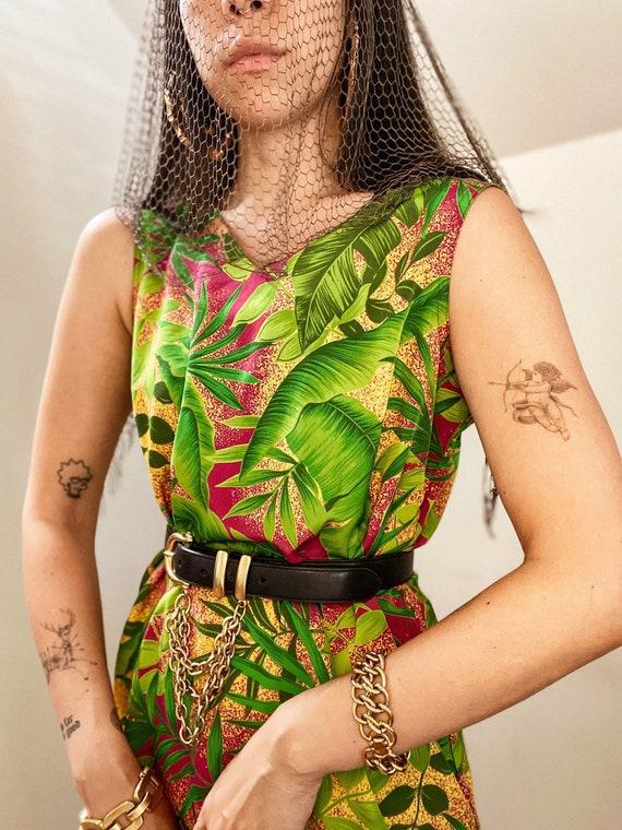 90's Tropical Botanical Print Midi Dress