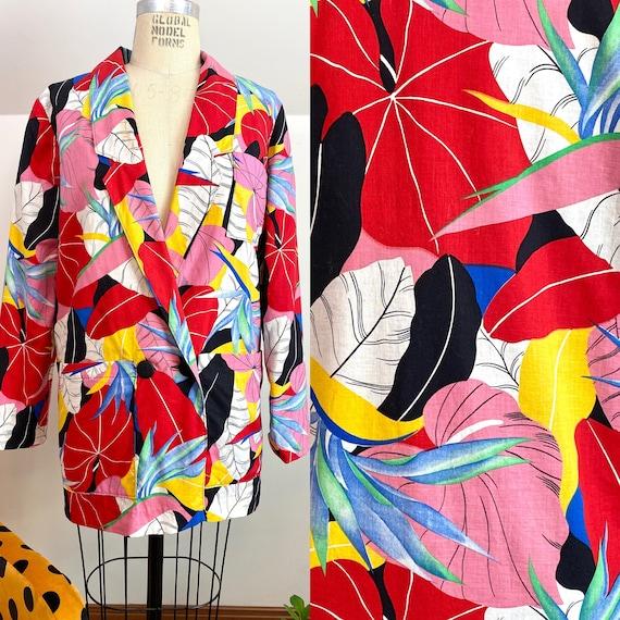 80's Patrick Nagel Inspired Tropical Print Blazer