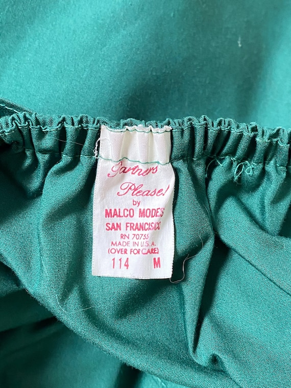 70's Forest Green Ruffle Layer Peasant Blouse Pra… - image 4