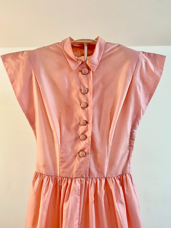 Stunning Vintage 50's Pink Taffeta Dress with Fing