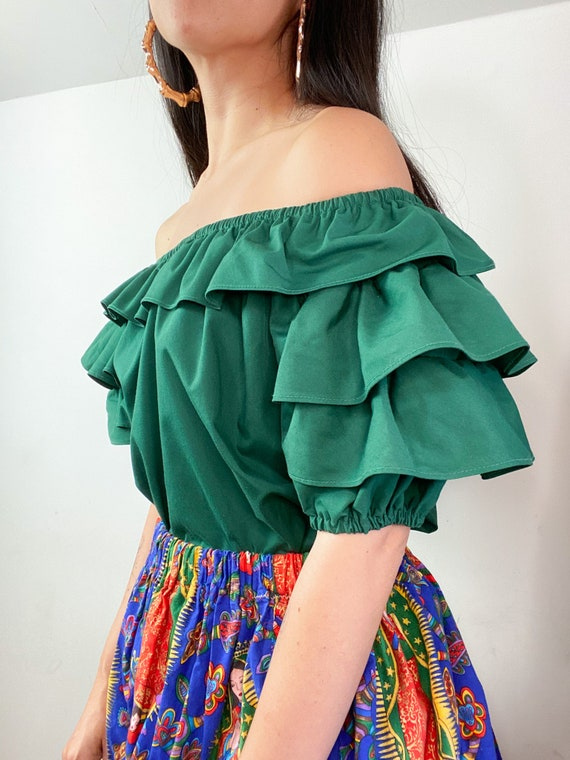 70's Forest Green Ruffle Layer Peasant Blouse Pra… - image 3