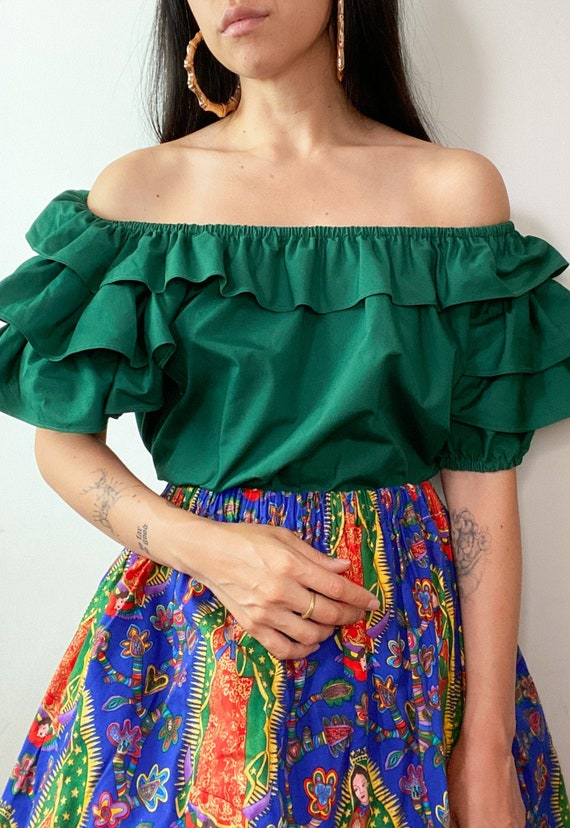 70's Forest Green Ruffle Layer Peasant Blouse Pra… - image 1