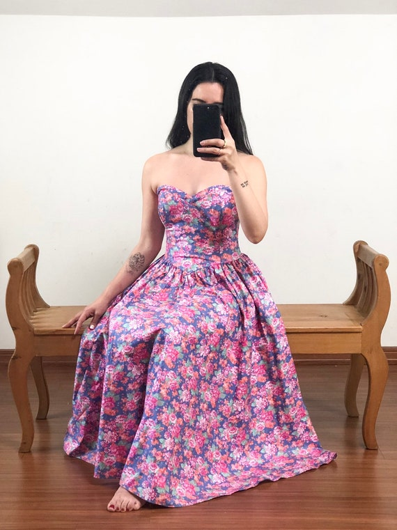 Laura Ashley Strapless Floral Dress