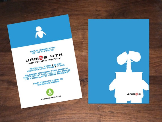 wall e birthday invitation etsy