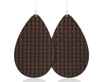 Leather earrings, Brown Basketweave Leather Earrings, statement earrings