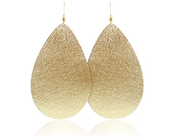 Gold leather earrings, gold leather teardrop earrings, leather earrings