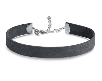 Suede Choker Necklace Grey