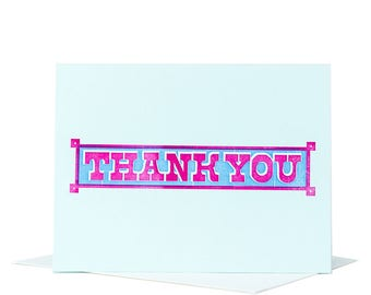 10-Pack Thank You Card / Letterpress Card / Typographic Design / Blank Card / Letterpress Thank You / Blue and Pink / Wedding Thank You