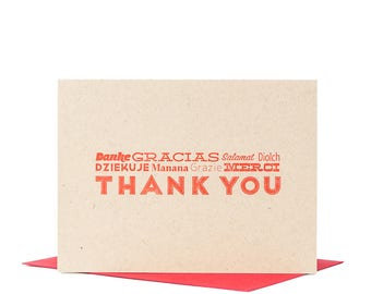 10-Pack Thank You Card / International Thank You / Multilingual Greeting Card / Letterpress Card / Typographic Design / Blank Card