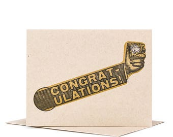 Congratulations Funny Greeting Card / Letterpress Card / Typographic Design / Wedding Card / Retirement Card / Cheers Card / New Baby Card