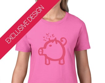 Bomb Pig Original Ladies' Shirt | 100% Thick Ringspun Soft Cotton | Ethical, Skin-Friendly and Non-Toxic | S-XXL