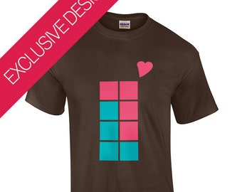 Tetris Tetrominoe Love | Retro Gaming/GameBoy T-Shirt | 100% THICK Cotton & Ethically Sourced | Skin-Friendly Non-Toxic | Sizes S-XXL