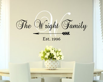 Family Name Monogram Decal Wall Sticker - Personalized Family Name Decal Monogram Established Date Decal - Family Decor Custom Family Decal