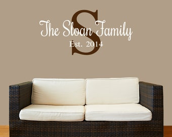 Family Name Decal - Personalized Family Name Decal Monogram Established Date Vinyl Wall Decal - Family Decor Custom Family Wall Decal
