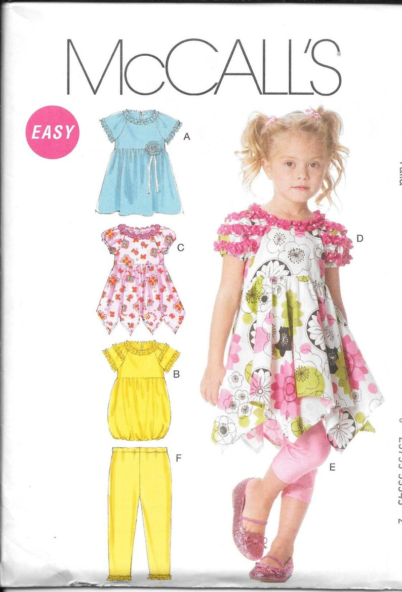 34e061d4a8816 McCalls 6272 Childrens and Girls Dresses and Leggings New