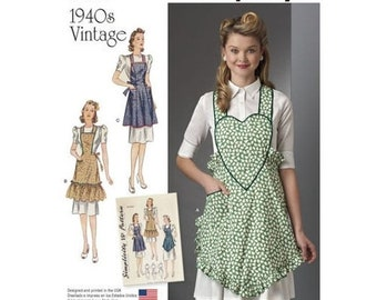 pattern Simplicity Pattern 8232 1940s Vintage Aprons Sewing Pattern, New Uncut, Size S-L, DIY Apron