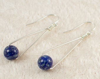 Simple Lapis Triangle Dangle Sterling Silver Earrings