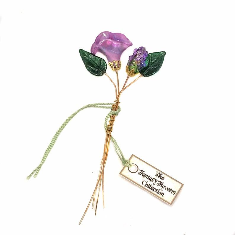 Set of four headpins. Tiny Purple Lampwork Flower Headpin Bouquet