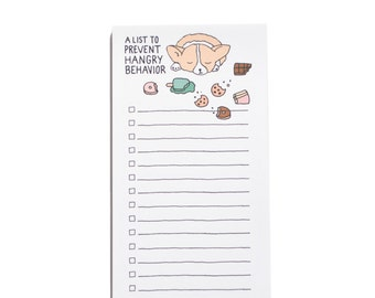 Hangry Skinny Grocery List, Corgi Notepad, Dog Notepad, To Do List, Market List, Funny Gift, Back to School, Apartment, Corgi Gift