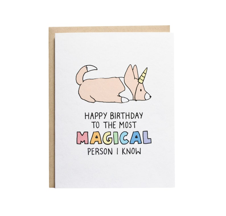 Happy Birthday Unicorn Card Dog Corgi