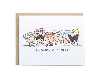 Thank You Card, Corgi Card, Cute Thank You Card, Dog Card, Thanks Card, Thanks a Bunch Card, Wedding Thank You Card