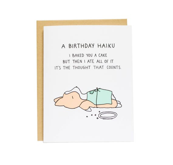 Birthday Haiku Card Funny Corgi