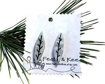 Metallic Silver Leaf Wood Earrings