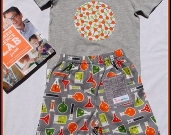 "Grey Chemistry Tree-hugger shorts and matching ""Atom"" shirt"