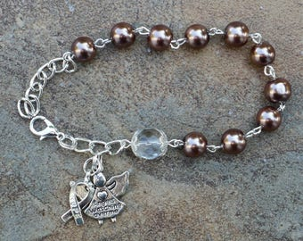Silver -   Anti-Tobacco and Colorectal / Colon Cancer Awareness - 8mm Brown Glass One Decade Catholic Rosary Bracelet