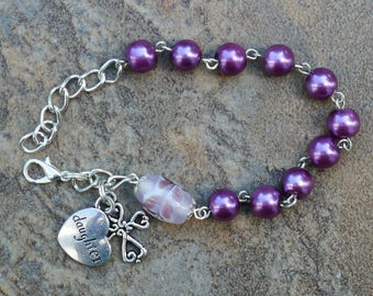 Silver - Daughter - 8mm Purple Glass One Decade Catholic Rosary Bracelet