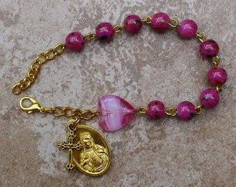 Gold - Immaculate Heart - 8mm Pink Glass One Decade Catholic Rosary Bracelet
