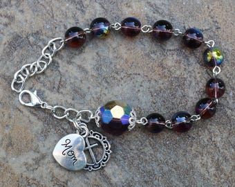 Silver - Mom - 8mm Amethyst AB Glass - February One Decade Catholic Rosary Bracelet