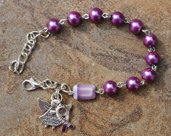 Silver - Honors Caregivers Awareness - 8mm Light Plum Glass One Decade Catholic Rosary Bracelet