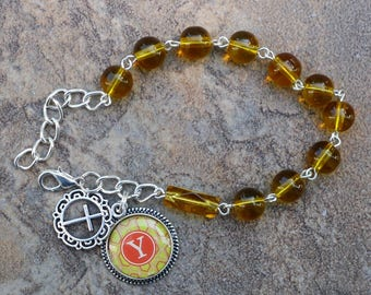 Silver - Alphabet Letter Y - 8mm Topaz Glass One Decade Catholic Rosary Bracelet